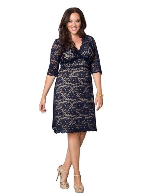 Large Women Fashion Blue Lace Cheap Summer Dresses Plus Size