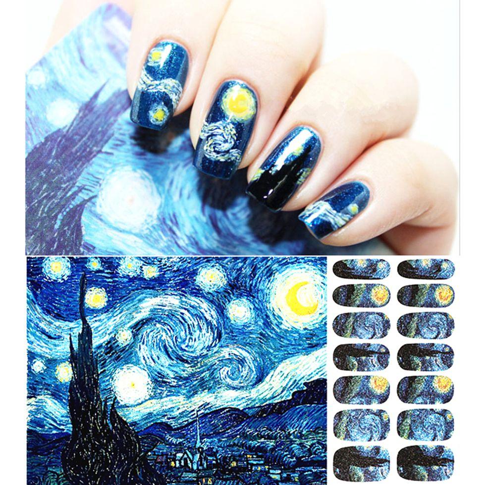 30 style Nail Wraps Stickers, Romantic Van Gogh Starry Night Designs ...