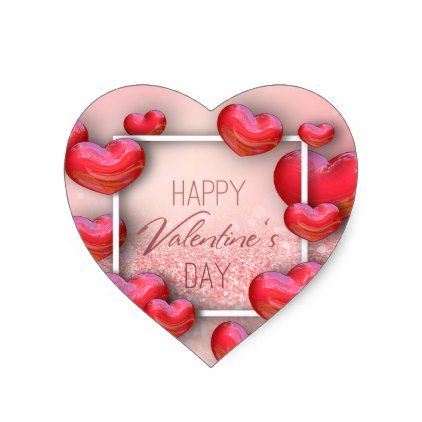 Valentine\'s Day Red Hearts Glitter Heart Sticker - valentines day ...
