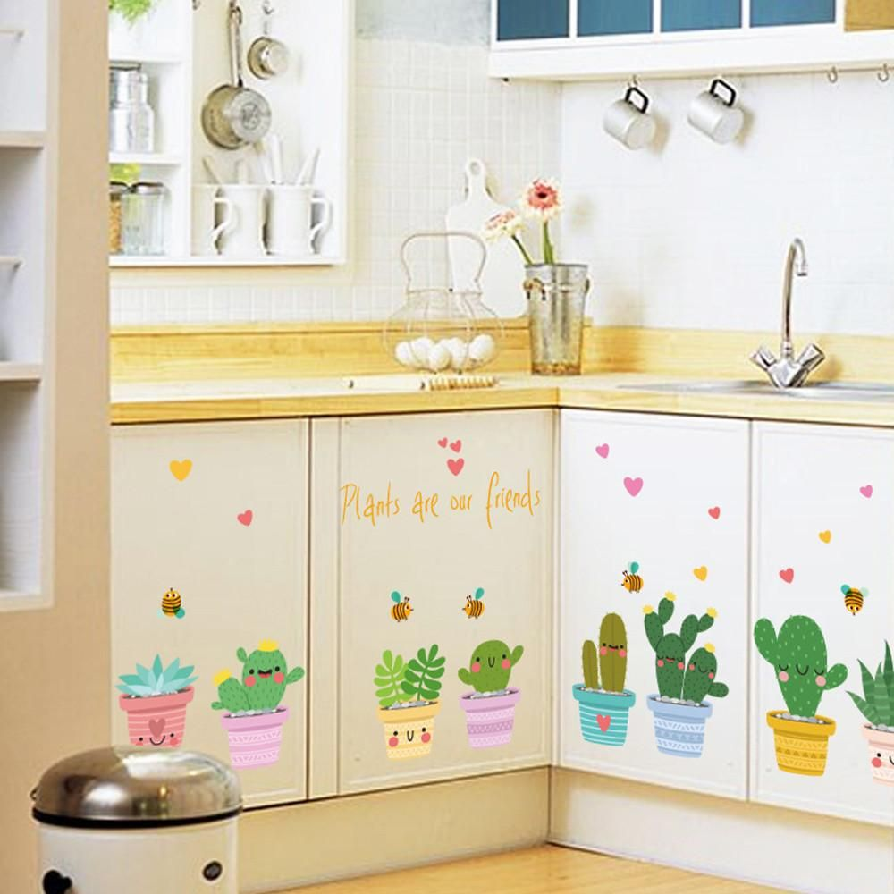 Cartoon Colorful Plants Line Kindergarten Children Room Wall Sticker ...