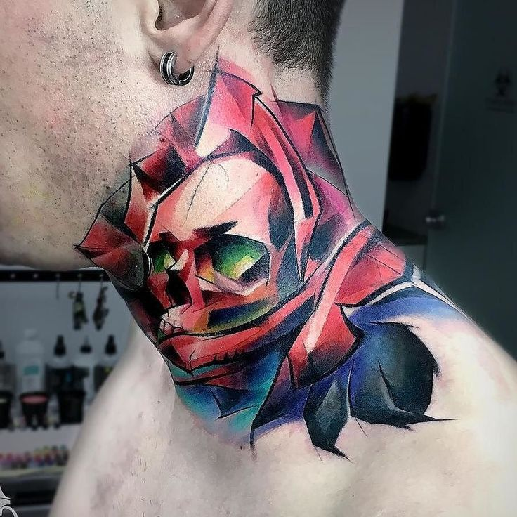 Cooltop Neck Sleeve Flower Skull Cover Up By Carlos Breakone At Piranhatattoostudios In Viseu Portu Neck Tattoo For Guys Best Neck Tattoos Rose Neck Tattoo