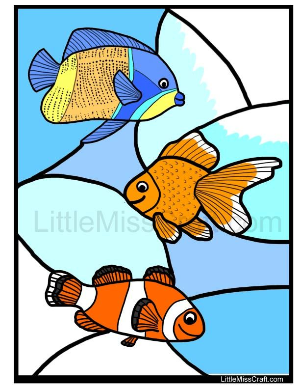 fish stained glass coloring page fun coloring page for kids