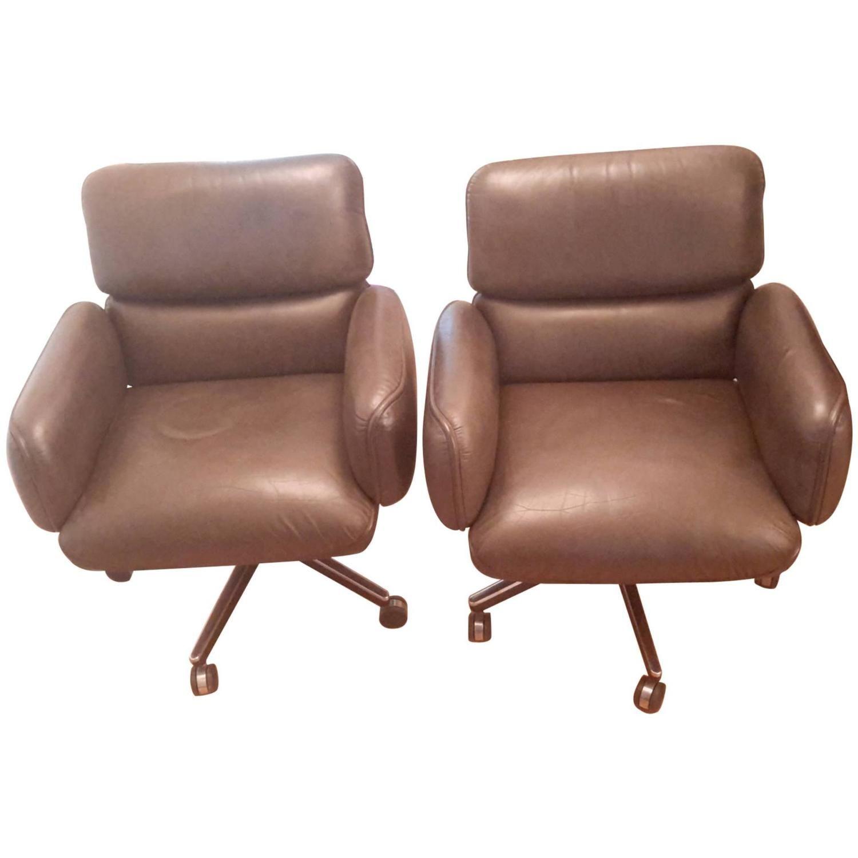 Fantastic Three Executive Vintage Leather Desk Chairs Knoll Designer Download Free Architecture Designs Grimeyleaguecom