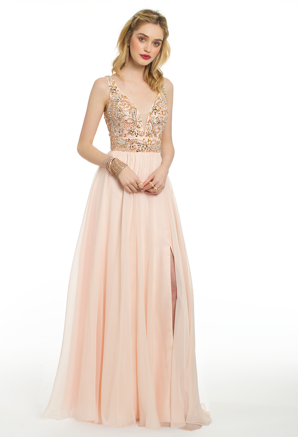 Turn heads all night in this long evening gown this dreamy prom