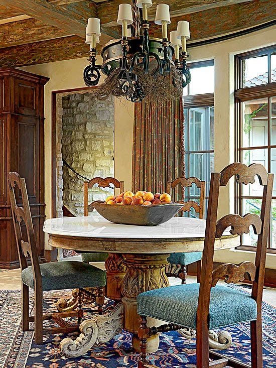 Smart Details Make This Dining Room A Prime Example Of Tuscan Style The Marble Top