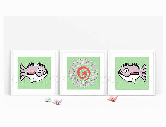 Tribal Nursery Set with Sea life artwork for kids bedroom. By Colors for Nuna