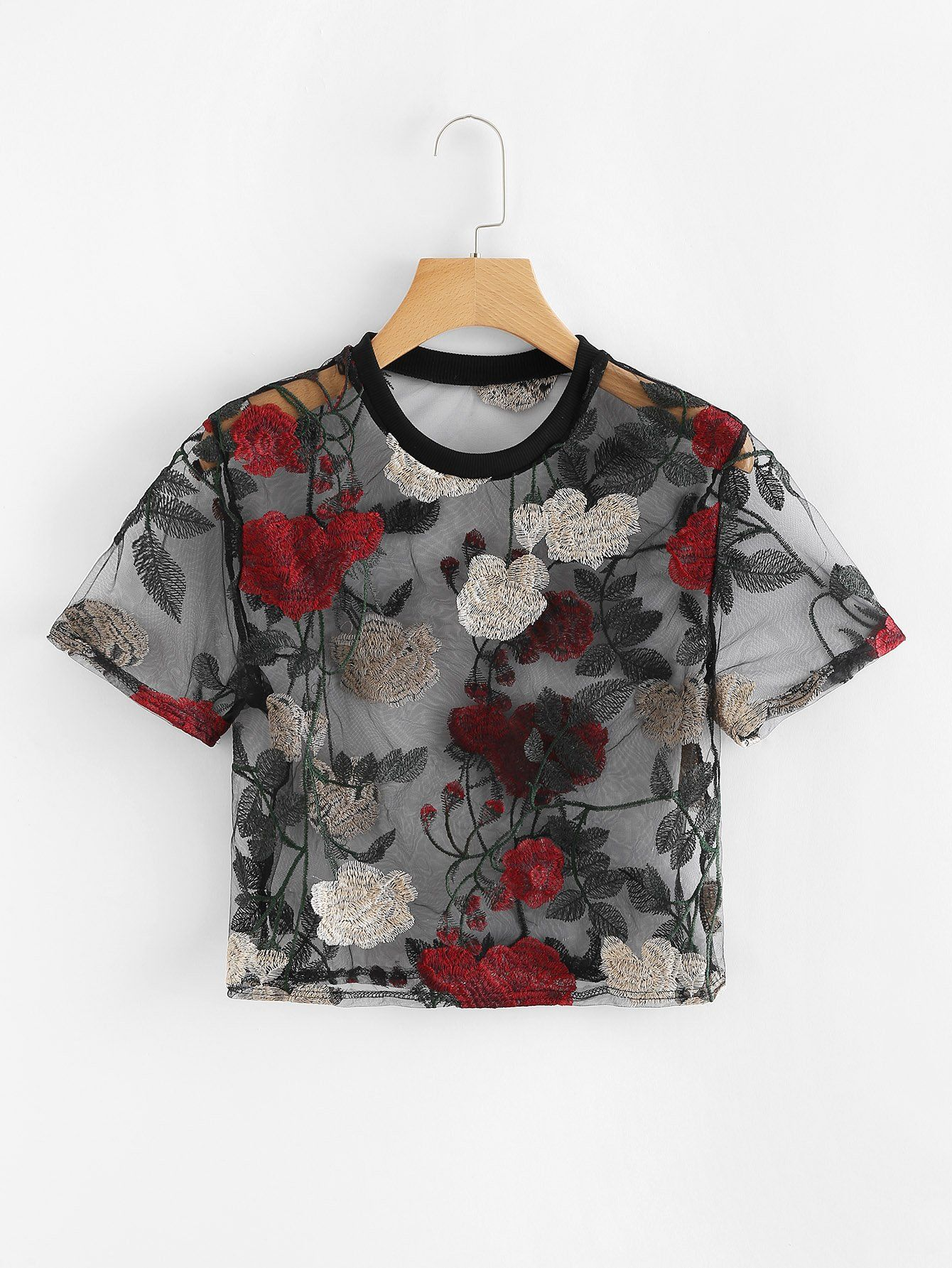 30ce8b6ca2967 Sheer Mesh Floral Embroidered Crop TopFor Women-romwe