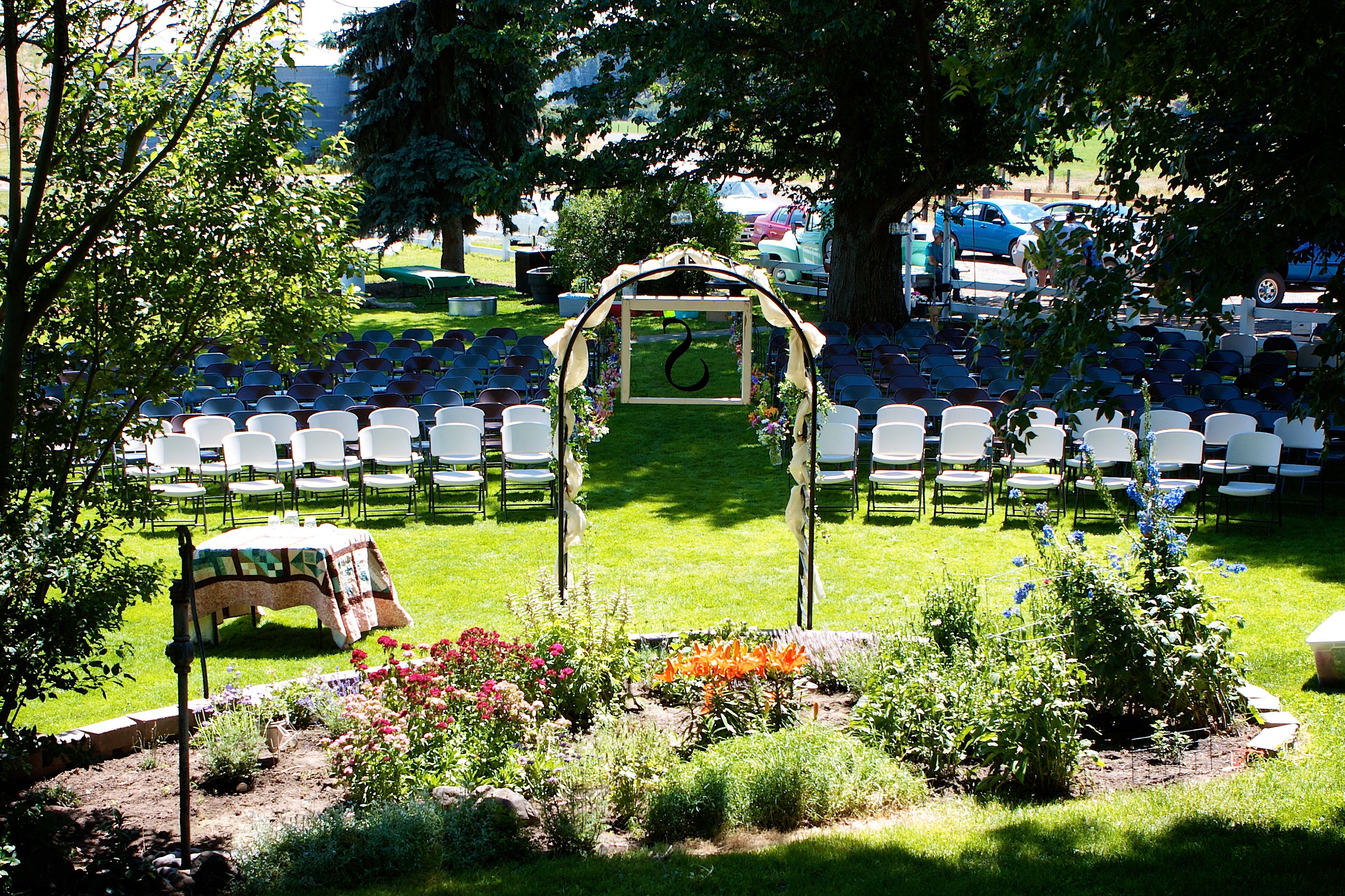 backyard country wedding set up homemade arbor w s window frame
