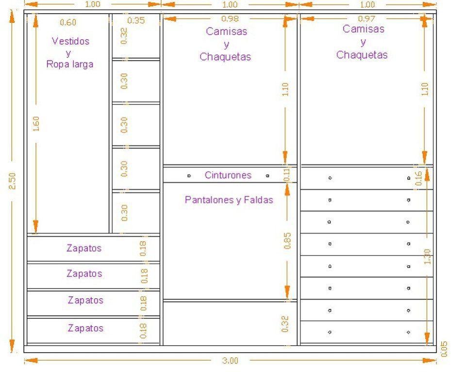 Distribucion armario vestidor y placares - Distribucion de armarios roperos ...