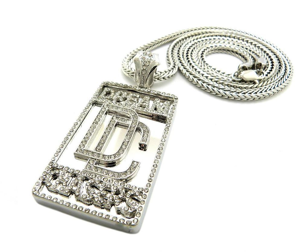 Mens Iced Out Celebrity Dream Chaser Pendant Chain Necklace Meek Mill