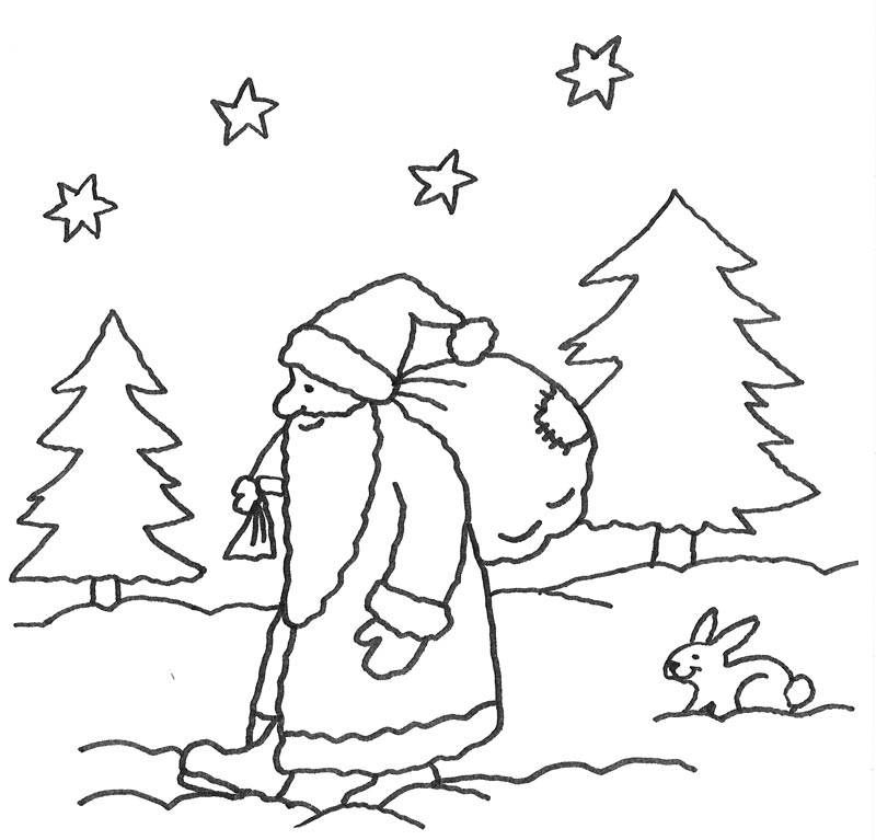Der Nikolaus Wandert Mit Einem Schweren Sack Voller Geschenke Durch Den Wald Die Kosten Nikolaus Basteln Vorlage Malvorlagen Weihnachten Ausmalbilder Nikolaus