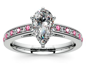 Pear Cathedral Diamond & Pink Sapphire Gemstone Engagement Ring in Platinum  http://www.brilliance.com/engagement-rings/cathedral-diamond-pink-sapphire-gemstone-ring-platinum