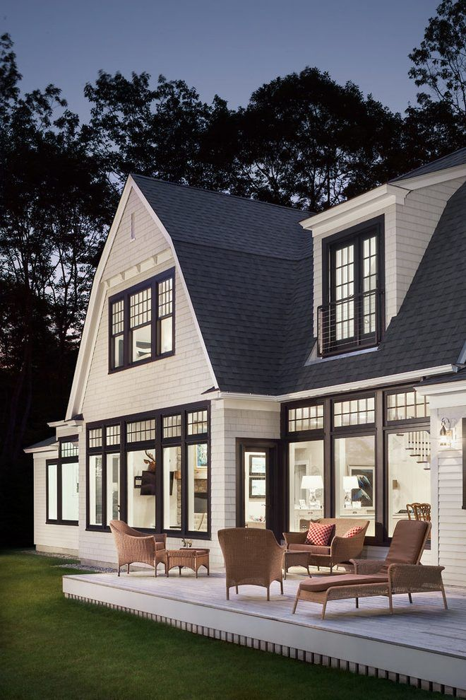 Black Exterior Window Trim Exterior Beach Style With