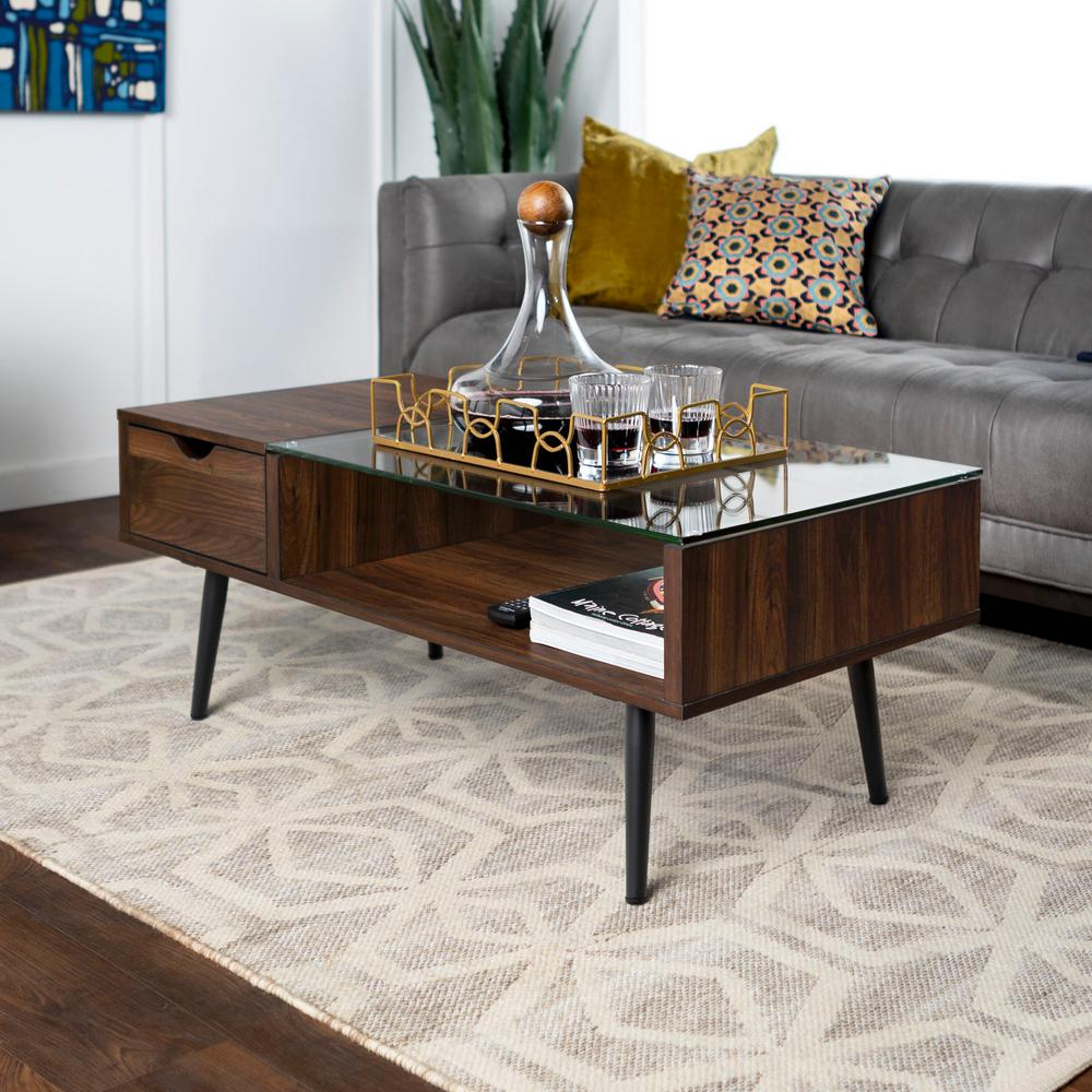 Walker Edison Furniture Company Mid 42 In Dark Walnut Large Rectangle Glass Coffee Table With Drawers Hdf42jmgldw The Home Depot Coffee Table Mid Century Modern Coffee Table Coffee Table With Drawers [ 1000 x 1000 Pixel ]