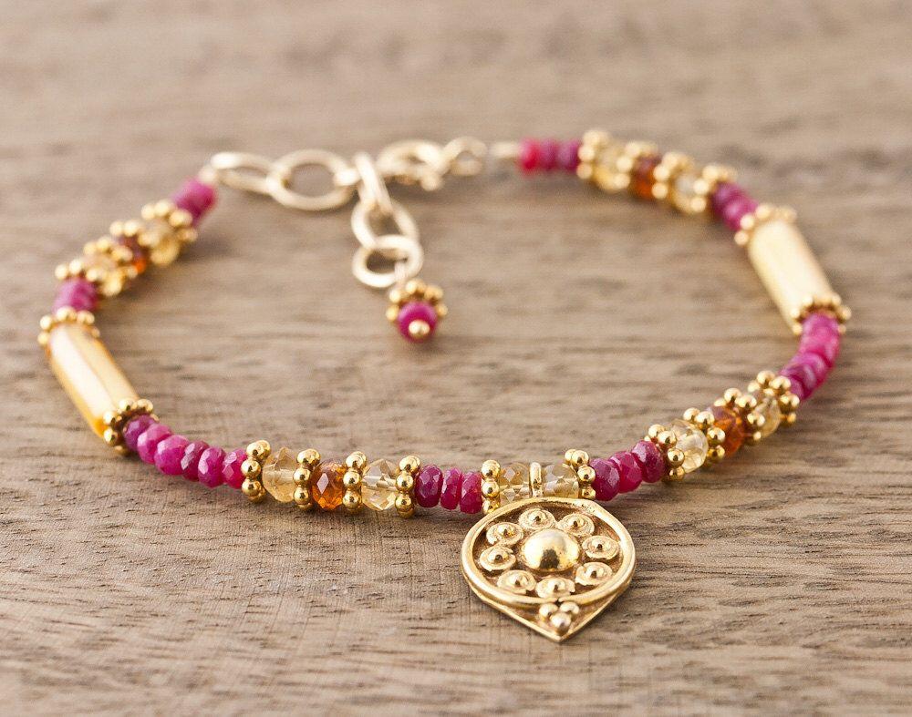 Adjustable July Birthstone Ruby Bracelet T7foUpm