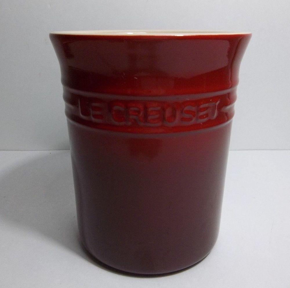 """Le Creuset Cherry Red POTERIE Crock UTENSIL Holder 6"""" # ..."""