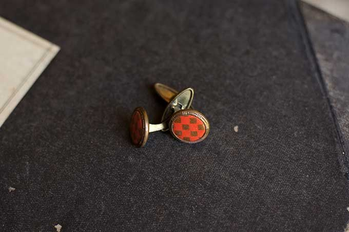 Old vintage French red and gold checkered brass cufflinks