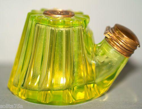 19th Very Rare Vaseline Crystal Teakettle Inkwell Tea Kettle Ink Well Bottle Vaseline Glass Bottled Ink Fountain Pen Ink