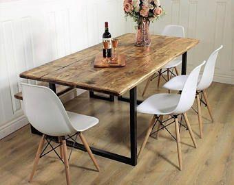Industrial Dining Table Rustic solid wood Kitchen Bench Set farmhouse Reclaimed Restaurant Metal Bespoke Custom Handmade Britain UK A-Frame