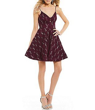 2077b11ac Xtraordinary Sequin-Embellished Lace Fit-And-Flare Dress   Prom ...