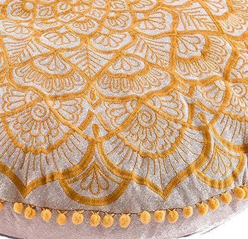 Mandala Life ART Bohemian Floor Cushion Cover –24 inchees - Luxury, Artisan Room Décor Pouf Case for Meditation, Yoga, and Boho Chic Seating Area Floor Pillow