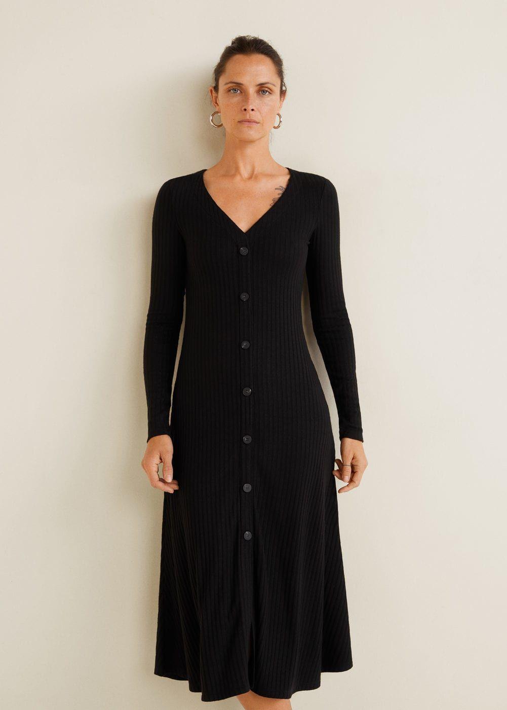 Ribbed Buttoned Dress Women Mango Usa Clothes Dresses Womens Dresses [ 1400 x 1001 Pixel ]
