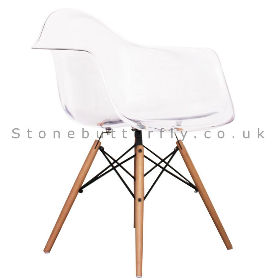 Charles Ray Eames Style DAW Arm Chair   Clear
