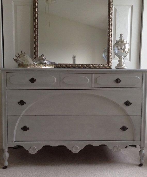 Paris Gray Chalk Paint Dresser: Annie Sloan Paris Grey Vintage Distressed Dresser- JUST