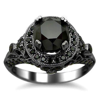 #blackdiamondengagementrings #blackdiamondgem 2.54ct Black Round Diamond Engagement Ring 14k Black Gold by Front Jewelers - See more at: http://blackdiamondgemstone.com/jewelry/wedding-anniversary/engagement-rings/254ct-black-round-diamond-engagement-ring-14k-black-gold-com/#!prettyPhoto