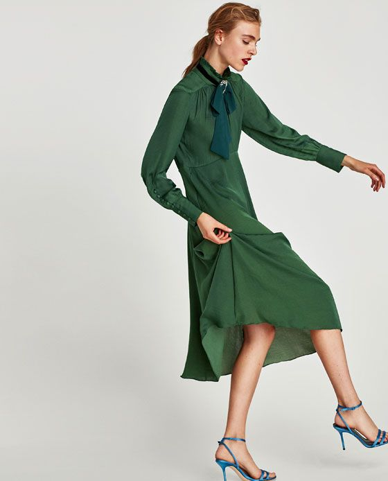 372e9434 FLOWING MIDI DRESS WITH LONG SLEEVES from Zara | Beautiful Blues ...