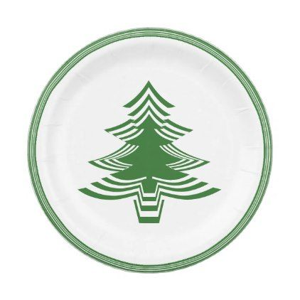 Green White Christmas Tree Font Geometric Pattern Paper Plate Zazzle Com White Christmas Tree Geometric Pattern White Christmas