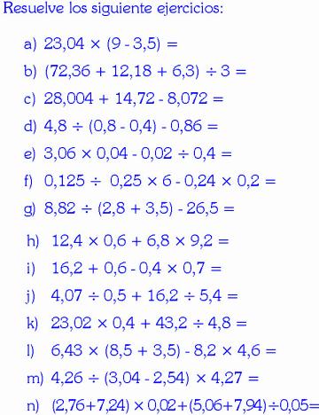Operaciones Combinadas Con Decimales Ejemplos Y Ejercicios Resueltos Decimal Orden De Las Operaciones Cursos De Matematicas