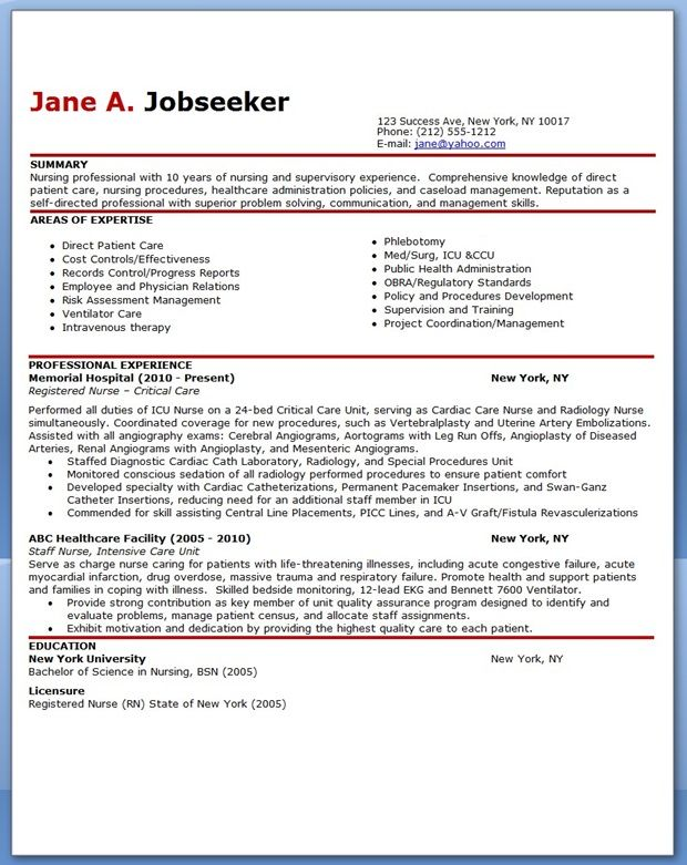 Experienced Nurse Resume Sample  Career Resources