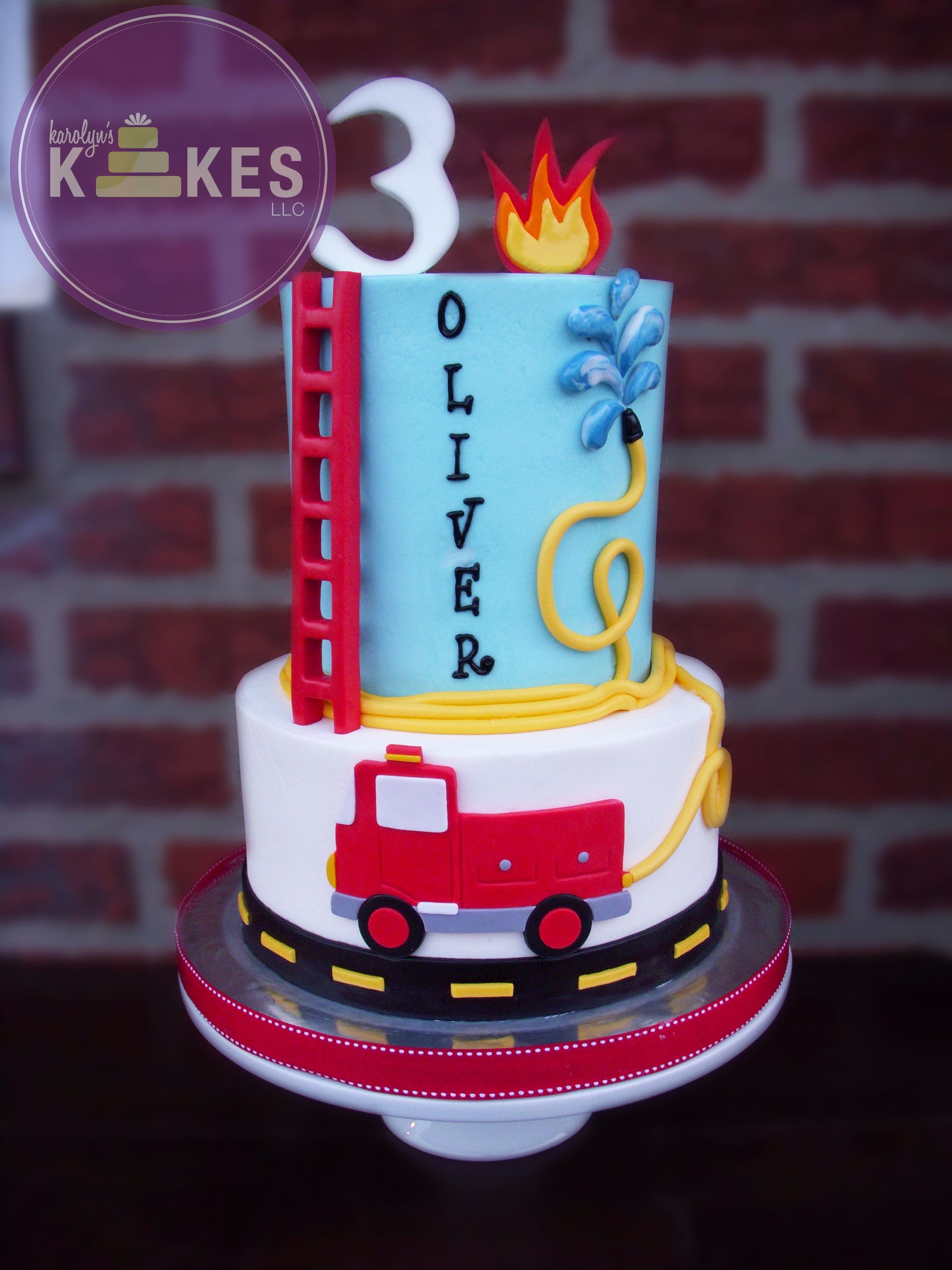 Cake ideas on pinterest pirate cakes marshmallow fondant and - Both Tiers Iced In Buttercream Marshmallow Fondant Flames Ladder Fire Truck Hose Water And Number Topper
