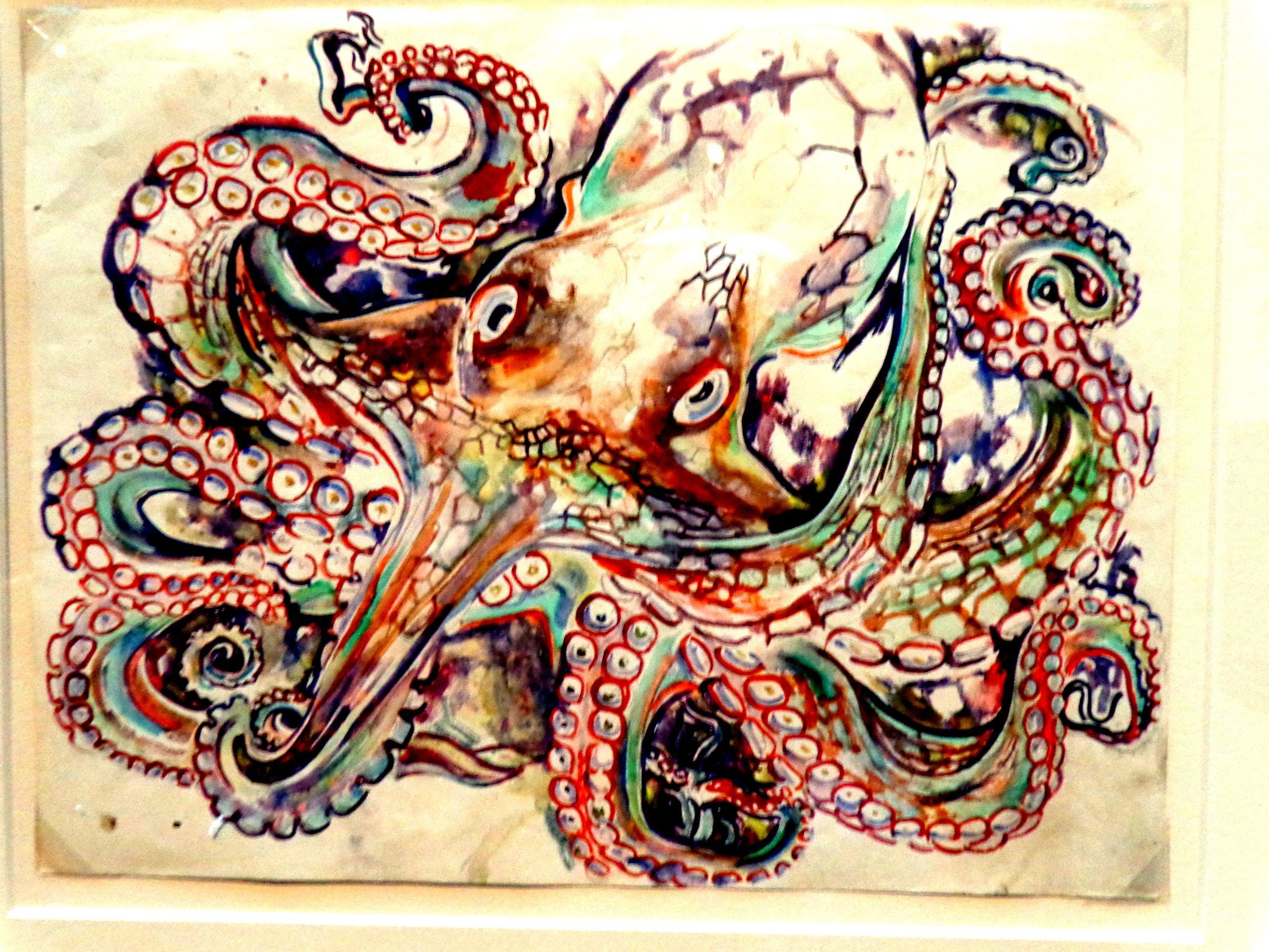 Octapus watercolor walter anderson museum ocean