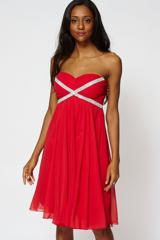 bd887ab6b076 Draped Embroidered Top Strapless Pleated Swing Dress Prom Dress  Unbranded   Skater  Cocktail