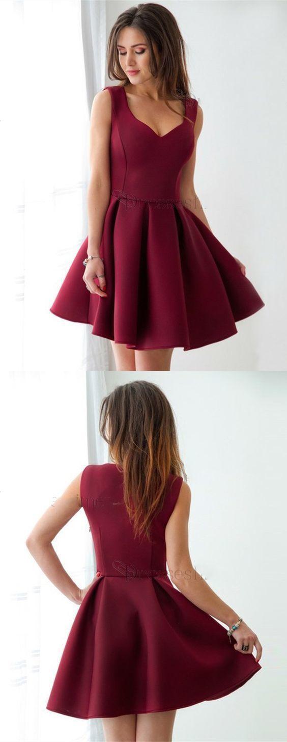 Aline scoop sleeveless burgundy homecoming dress in pretty
