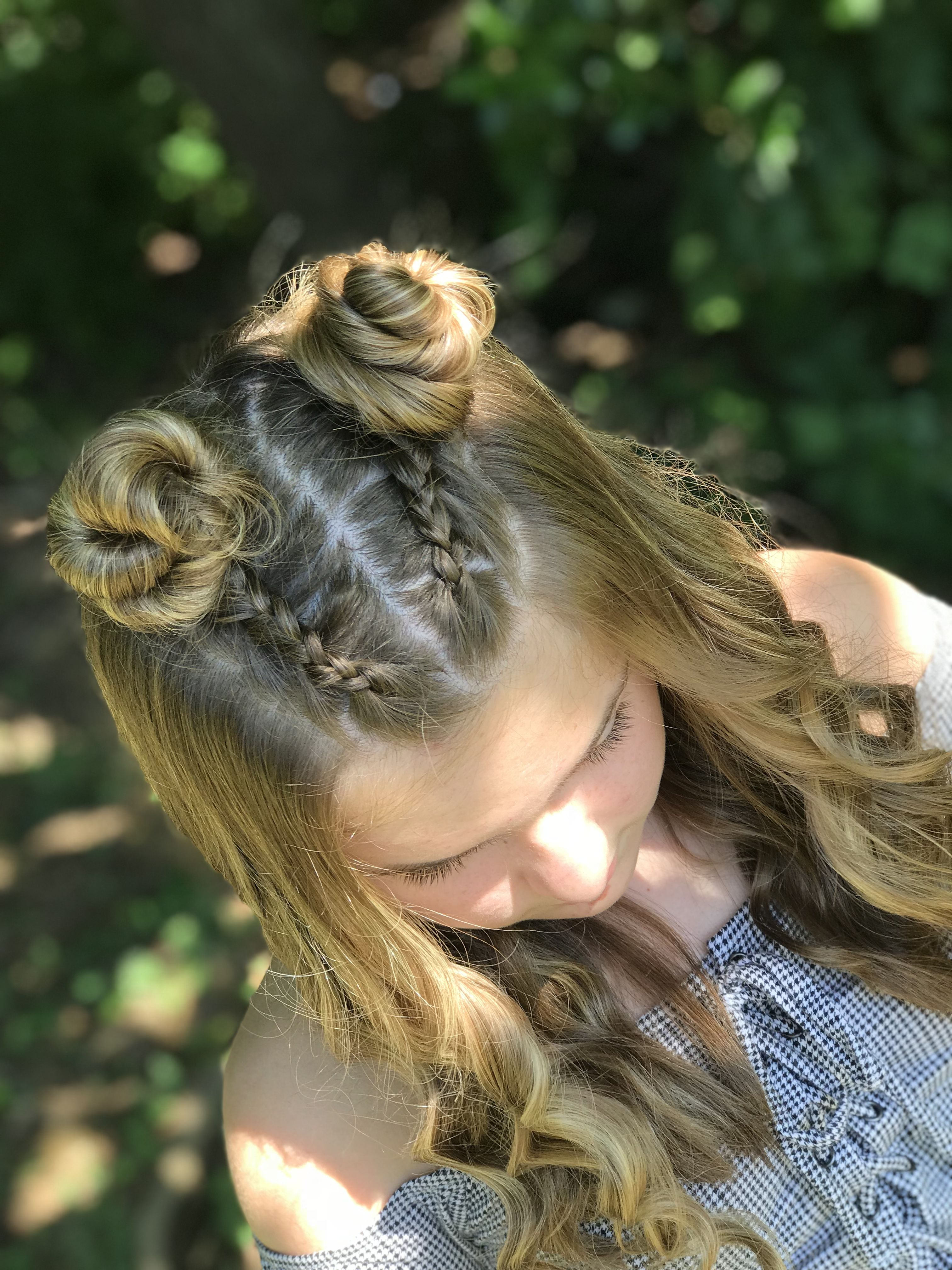 A half up two braided bun curly hairstyle 💛💛💛💛💛 | Two braid hairstyles, French braid hairstyles ...