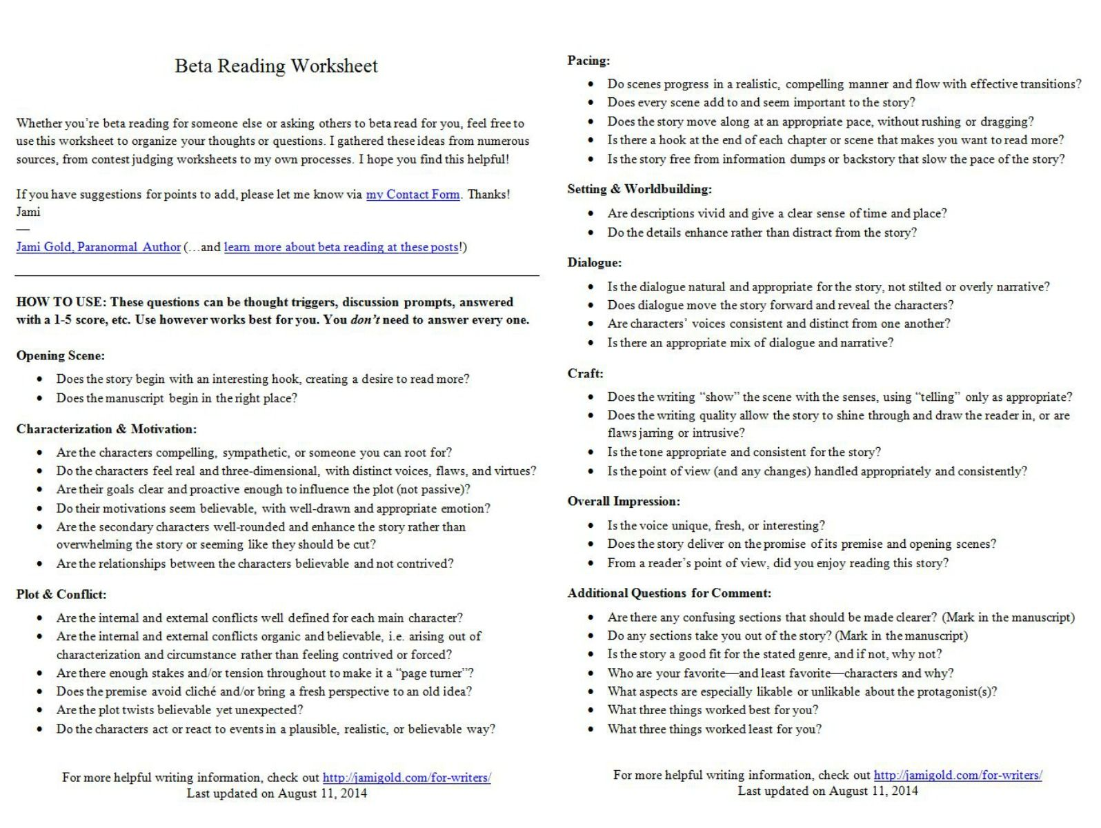 Worksheets for Writers | Reading worksheets, Worksheets and Writer