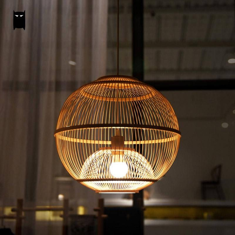 Bamboo Wicker Rattan Ball Cage Pendant Light Fixture Asian Japanese Country Lamp Chandelier Fittings Lighting For