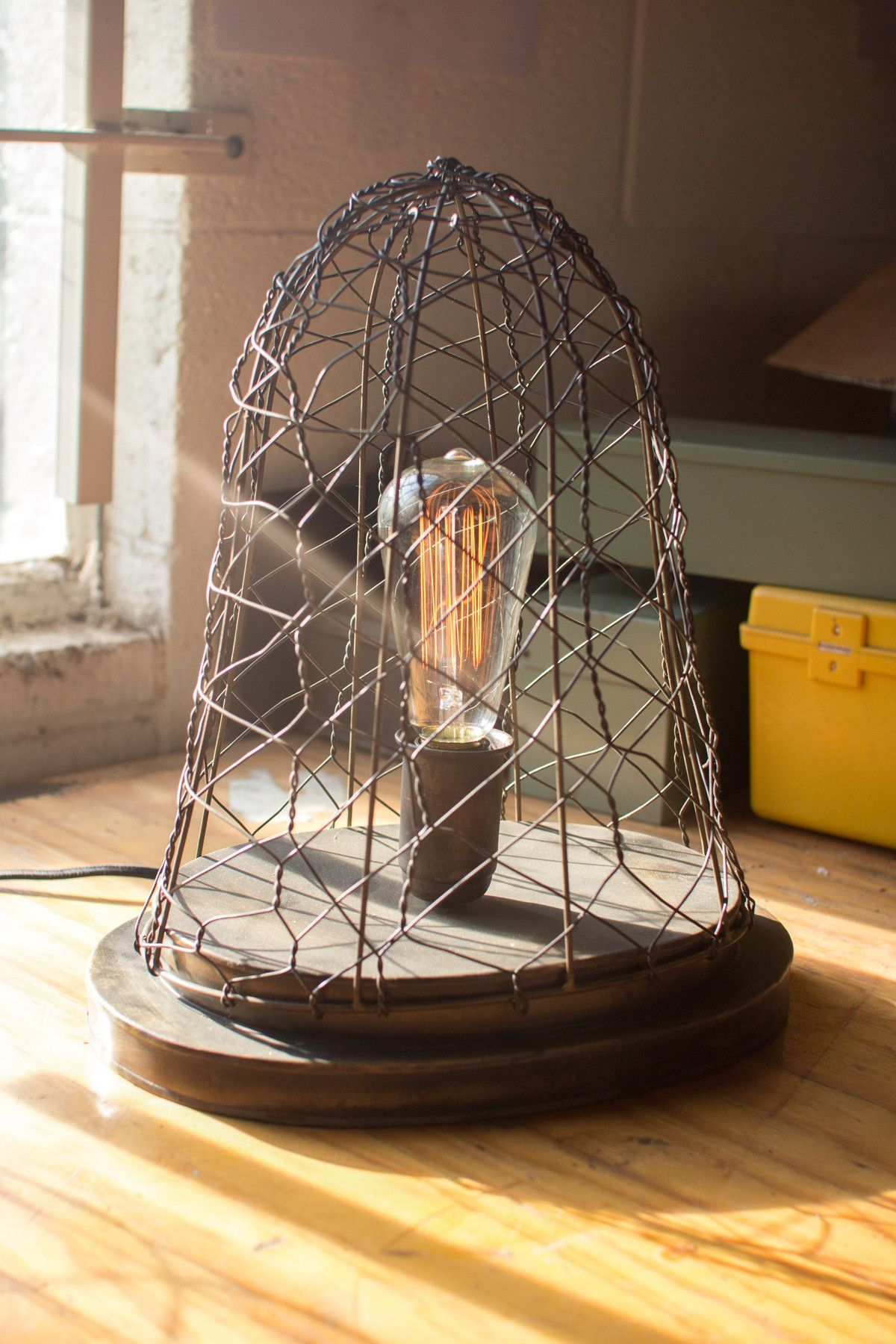 Wire cage desk lamp wire center woven wire cage desk lamp old brass pinterest desk lamp and products rh pinterest ch metal cage lamp wire basket lamp greentooth Choice Image