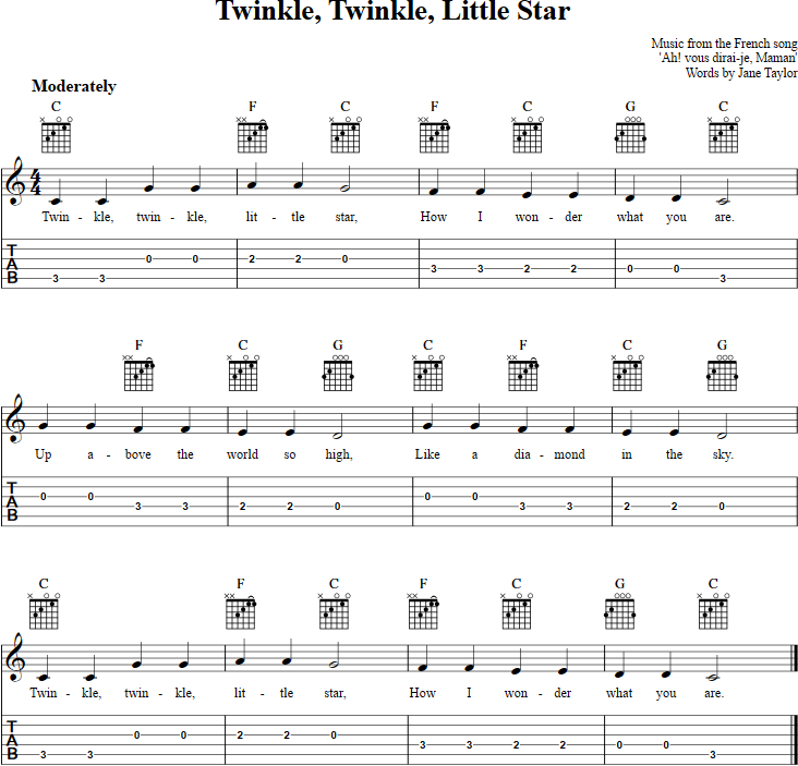 Twinkle Twinkle Little Star Chords Sheet Music And Tab For