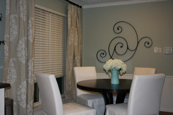 Restoration Hardware silver sage paint, ikea slipcovered dining chairs, pier 1 dining table