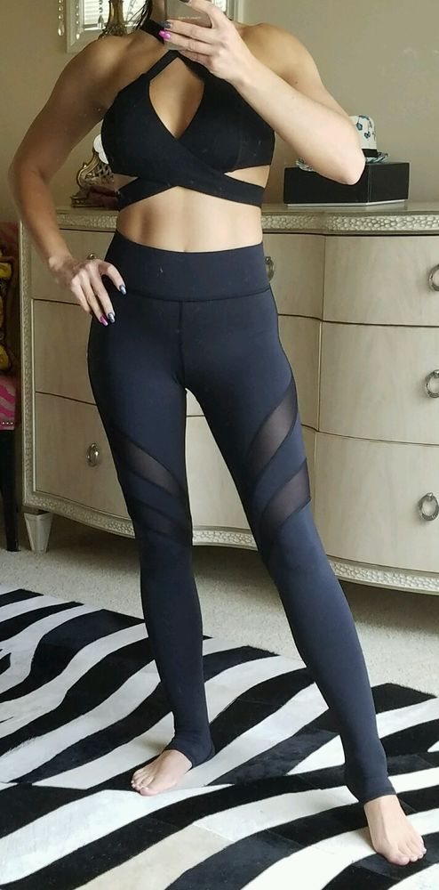753376a453 MICHI SPORT PSYCHE BLACK LEGGINGS WITH MESH DETAIL XS STUNNING SOLD OUT
