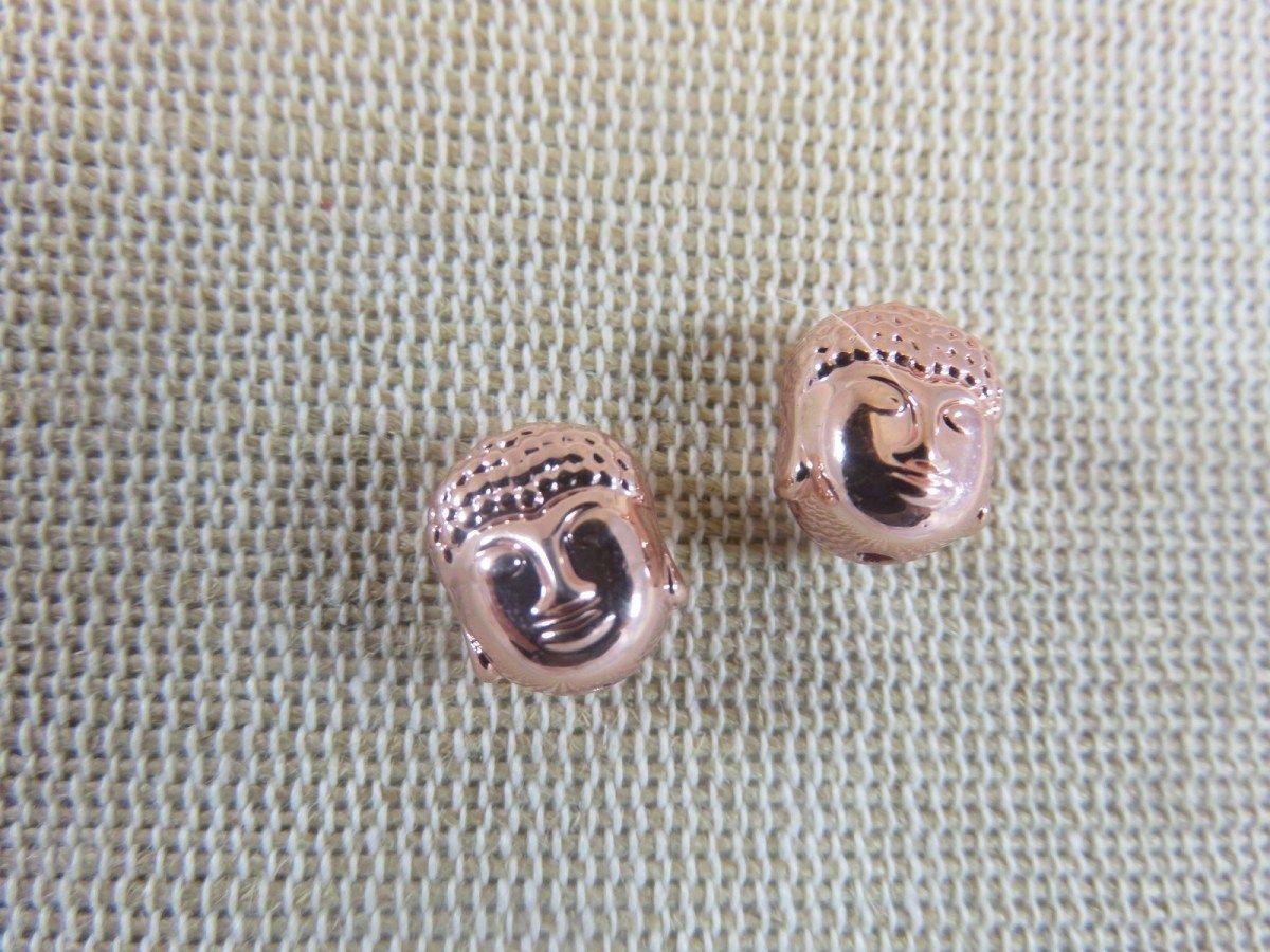 20 Perles en métal or Vieilli Bouddha Gravé