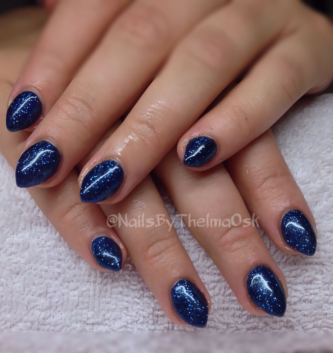 Gorgeous deep blue gel nails with dark blue glitter | Lovely Nails ...