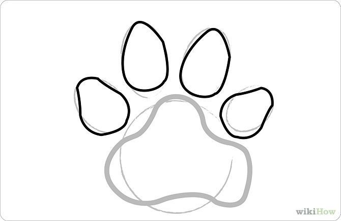 How to draw dog paw prints 8 steps with pictures