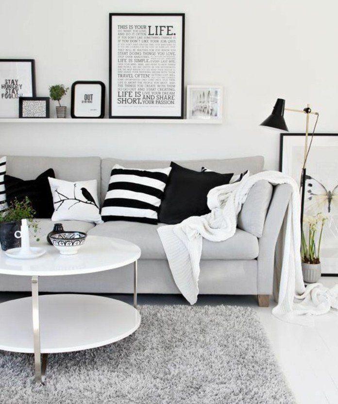 Deco Salon Blanc, Combinée Avec Des éléments Gris Et Noirs, Amenagement  Salon Charmant,