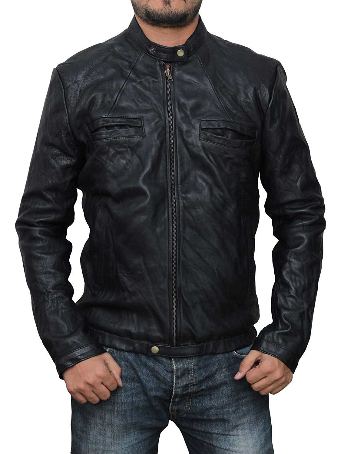 17 Again Slim Fit Lambskin Leather Jacket DEAL OF THE DAY