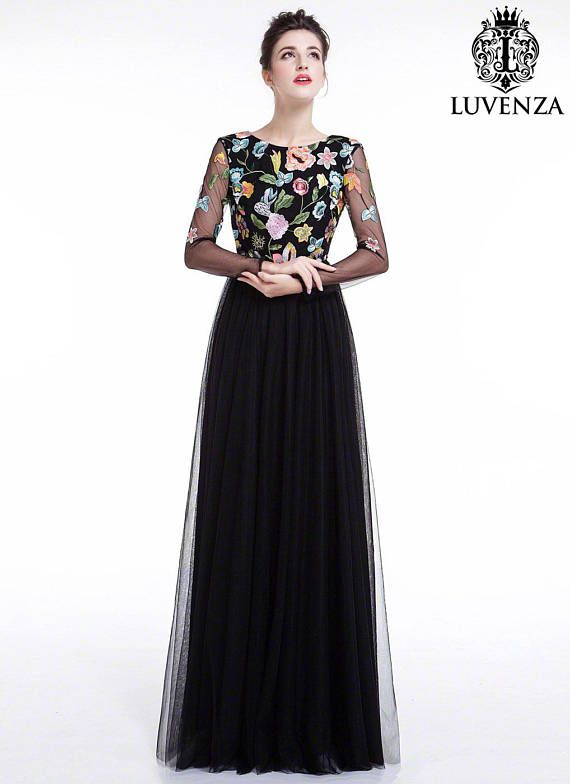 e5bdf2a9f63 Black Tulle Maxi Evening Dress with Floral Accents  Floor Length Colorful  Embroidered Bodice Formal